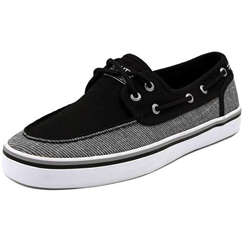 Nautica Men's Spinnaker Lace-Up Boat Shoe, Casual Loafer, Fashion Sneaker-Black Linen Stripe-8.5