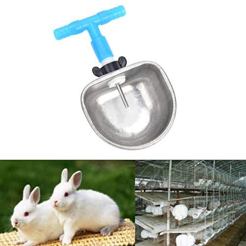 Zwindy Bebedero de Conejo automático Alimentador de Agua Tazón Fijo, 10 Juegos Bebedero de Conejo de Acero Inoxidable, Accesorios de alimentación del tazón de Agua(Conector en T de una Pieza)