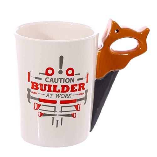 GUIDEB nieuwe creatieve hamer koffiebeker persoonlijkheid tool keramische beker hamer tang zag koffiebeker met handvat beker en beker 301-400ml F