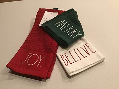 RAE Dunn Christmas Kitchen Towels Set of 3 Joy, Believe, Merry