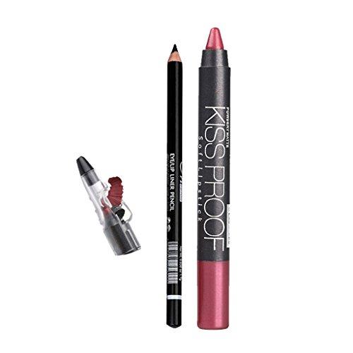 Menow Pro Lang Anhaltender Eyeliner Bleistift mit Lippenstift Bleistift + Spitzer Set - 01