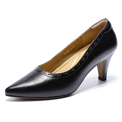 Mona flying Women's Leather Pumps Dress Shoes Med Heel Pointed Toe High Heels for Women Office Wedding