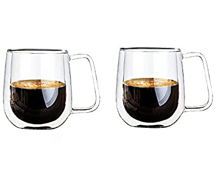 Vicloon Cristal Vidrio de Doble Pared, Taza de Cafe Doble 250 ml, Tazas de Café Resistentes al Calor, Doble Pared de Vidrio de Borosilicato Adecuado para Té, Café, Capuchino (Juego de Dos)
