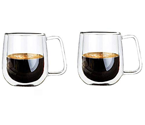 Vicloon Cristal Vidrio de Doble Pared, Taza de Cafe Doble 250 ml, Tazas de Café Resistentes al Calor, Doble Pared de Vidrio de Borosilicato Adecuado para Té, Café, Capuchino (Set de 2)
