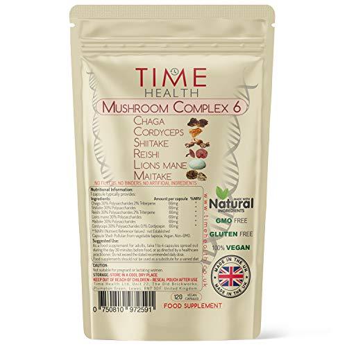 Mushroom Complex 6 | 120 Capsules | Maximum Strength 12000mg per Capsule | Chaga, Cordyceps, Shiitake, Reishi, Lions Mane, Maitake | Zero Additives | 100% Vegan | UK Made (120 Capsule Pouch)