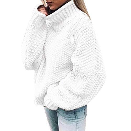 Suéter Casual para Mujer Jersey de Manga Larga Color sólido de Punto Blusa de Cuello Alto Color sólido Tops Outwear cálida cómoda Informal de Fiesta otoño e Invierno(Blanco,L)