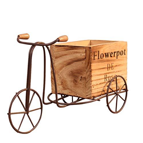 NKDD decoración Hecha a Mano Cesta de Flores florero Regalo Almacenamiento de Bicicletas macetas de jardín contenedor Triciclo de Madera Modelo Maceta Color Madera