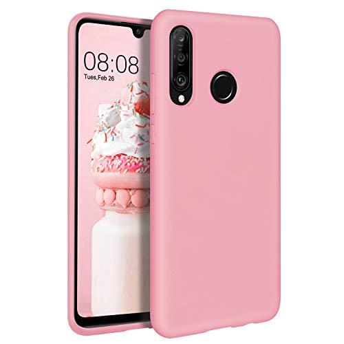 BENTOBEN Huawei P30 Lite Hülle Silikon Case Huawei P30 Lite Handyhülle Slim Kratzfest aus Glatte weiche Flüssigsilikon Gummi mit innem Soft Microfaser Tuch Futter Huawei P30 Lite Silikon Case Rosa