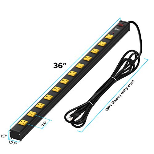 CRST Heavy Duty Surge Protector Power Strip Wide Spaced 12-Outlet 15 Feet Long Extension Cord with Mounting Brackets 15A Circuit Breaker 1800 Joules 3
