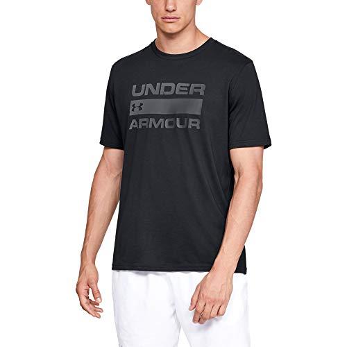 Under Armour T-Shirt à Manches Courtes UA Team Issue Wordark pour Homme avec Design Graphique, Coupe Ample, vêtements de Sport et de Fitness pour Homme Taille XXXL Noir (001) / Gris Rhino