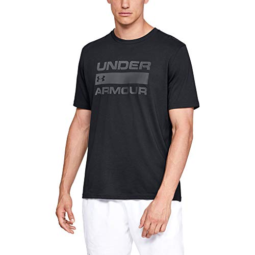Under Armour Herren UA TEAM ISSUE WORDMARK Short Sleeve atmungsaktives Sportshirt, kurzärmliges und komfortables Funktionsshirt mit loser Passform, Schwarz (Black/Rhino Gray (001), XX-Large