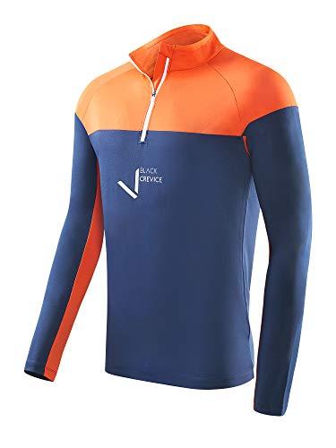 Black Crevice T-Shirt Fonctionnel à Fermeture Éclair pour Homme Bleu Marine/Orange Taille L