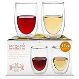 Copas Eparé para vino; juego de vasos sin pie y con aislamiento (13 oz, 390 ml); vasos de vidrio de...