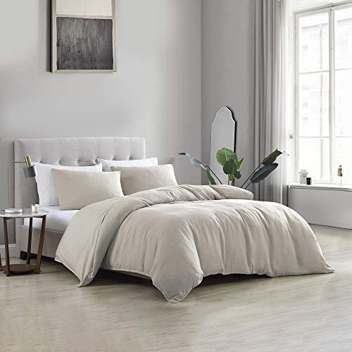 Brielle Wesley Solid Cotton Matelasse Textured Duvet Cover Set, Linen, Full/Queen, Beige
