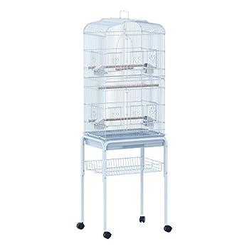 Pawhut Cage à Oiseaux sur roulettes Multi-Accessoires mangeoires perchoirs bac Amovible 48 x 37 x 153 cm Blanc