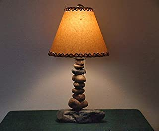Rustic Cabin/Lodge Style Lamp.The Clearwater Tall Stone Lamp w/12 inch Parchment Shade