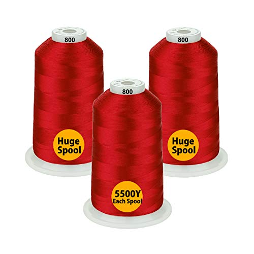 Simthread - 26 Selections - Various Assorted Color Packs of Polyester Embroidery Machine Thread Huge Spool 5500Y for All Purpose Sewing Embroidery Machines - Red