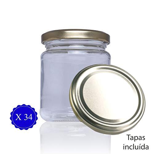 Tarro de cristal con tapa incluida de cocina para conservas chuches miel. Tarros pequeños botes de vidrio para congelador