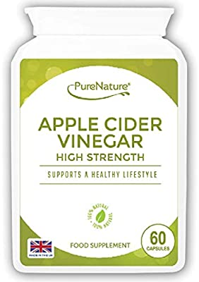 Apple Cider Vinegar 60 High Strength Capsules to Support the Maintenance of a Healthy Body Fluid Balance, Diet, Weight loss and Sugar Balance FREE UK Delivery from Distributed by Be-Beautiful-Online