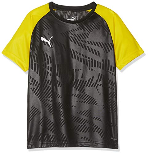 PUMA Kinder CUP Training Jersey Core Jr Trikot, Black-Cyber Yellow, 176