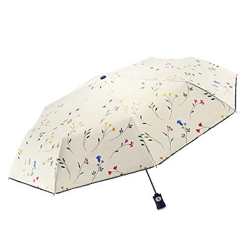 FDJASGY UV Sun Umbrella Compact Folding Travel Umbrella Auto Open Close Compact Folding Rain Umbrellas for Women Men Blocking UV 99.98% Carnations