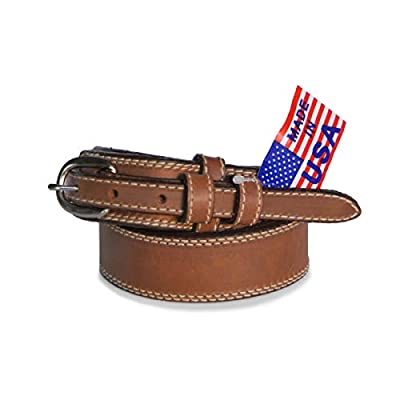 "R.G. BULLCO - USA Made - 1-1/2"" Full Grain Ranger Leather Belt with Snaps, Solid Buckle and Double Edge Stitch - Brown - Size 32 - RGB-122"