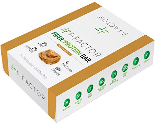 F-Factor® Peanut Butter Fiber Protein Bar, High Fiber, High Protein, Low Carb, Gluten Free, Low Sugar, Vegan, Soy Free, Natural, Keto Friendly, Healthy & Convenient Snack, 12 Count