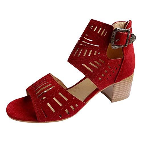 Sandalias Mujer tacón Cuadrado Hebilla Punta Descubierta cangrejeras Bohemia Romanas Estilo tacónes Mujer Aire Libre de Vestir Elegantes cómodo para Matrimonio Ceremonia Casuales Zapatos Mujer