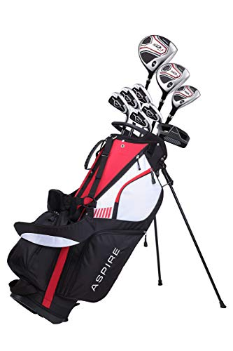 Aspire XD1 Men's Complete Golf Set Includes Titanium Driver, S.S. Fairway, S.S. Hybrid, S.S. 6-PW Irons, Putter, Stand Bag, 3 H/C's Right Hand (Right Hand)