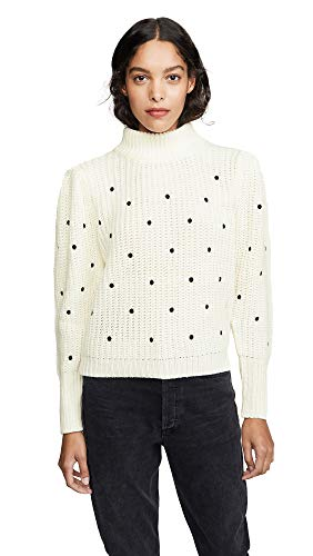 English Factory Women's Dot Embroidered Sweater, White, Large