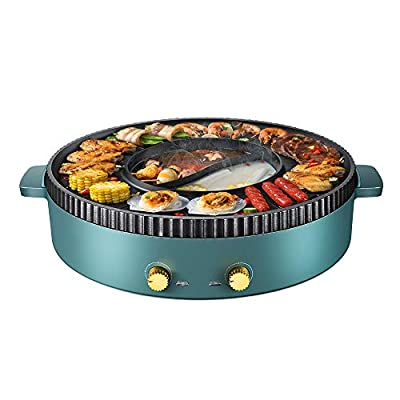 SEAAN Electric Grill Hot Pot Smokeless Indoor Korean BBQ Grill Shabu Shabu Pot with Divider, Separate Dual Temperature Control, Non-Stick Hot Pot with Grill,110V