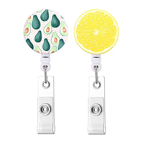 Badge Reel, Green Avocado and Yellow Lemon Slice Pattern Retractable ID Card Badge Holder with Alligator Clip, Name Decorative Badge Reel Clip on Card Holders for Cute Girls,Women, Nurse - 2 Pack
