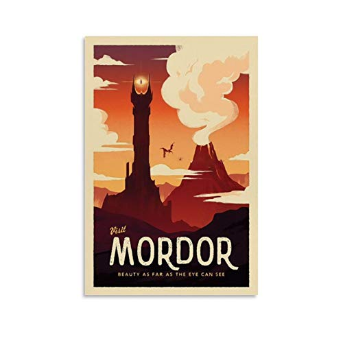 HUAIREN Mordor LOTR Travel Poster - Lord of The Rings - Retro Vintage Poster Prints Decor Gift Canvas Wall Art For Room Decor Family Bedroom Bathroom Aesthetic Poster 20x30inch(50x75cm)
