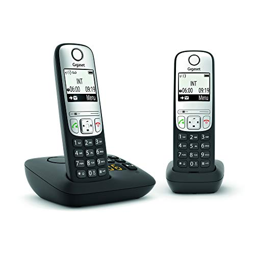 GIGASET A690 A Duo schwarz schnurlos analog DECT Zwei Mobilteile Anrufbeantworter Display Freisprechen Telefonb. 100 Einträge