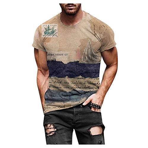 Masrin Herren T-Shirt Frühling Sommer Navigation Motiv Pullover Vintage 3D Bedruckte Tops Kurzarm O-Ausschnitt Slim Tunika Bluse(XL,Khaki)
