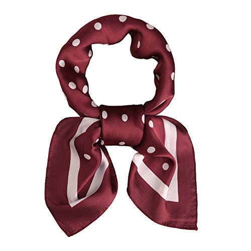 SOJOS Bandana Nicki-Tuch Damen Halstuch Kopftuch Seidentuch mit Polka Dot 70 x 70 Rot