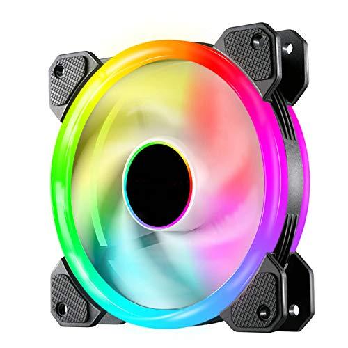 Raburt Ventilador RGB para carcasa de ordenador, regulable, silencioso, 120 mm