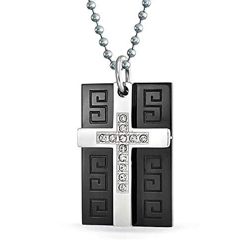 Bling Jewelry Tecla Griego Perro Placa Rectángulo Cruz