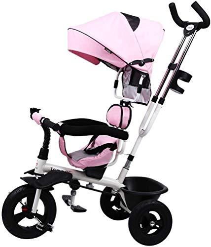 Triciclo ligero portátil para bebé y niños de 1 a 5 años, truco de pedal de 3 ruedas con neumáticos sin inflar, cesta de almacenamiento, marco de acero, montaje rápido, rosa