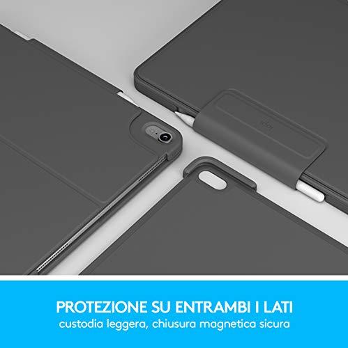 Logitech SLIM FOLIO PRO, Custodia Bluetooth con Tastiera Retroilluminata per iPad Pro da 11 Pollici (1a e 2a generazione), Grigio