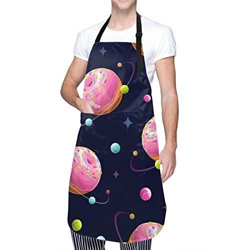 Lawenp Lecker Cartoon Donut Planeten Küchenschürzen für Frauen Wasserdicht mit großen Taschen verstellbare süße Schürzen Wasserdichter Grill für Männer