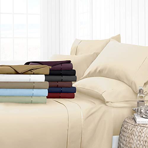 Noble Comfort Linen Drap-Housse de Luxe Lisse 100% Coton égyptien 3 pièces 5–63,5 cm Motif uni 500 Fils Toutes Tailles et Couleurs (Petit Double, crème)