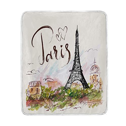 Use7 Home Decor Paris Tour Eiffel Street Aquarelle Couverture Souple Chaud couvertures pour lit Canapé Canapé léger Voyage Camping 127 cm x 152.4 cm Couvre-lit Taille pour Enfants garçons Femme