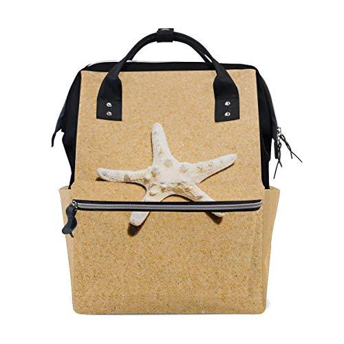 Bolsa de pañales para mamá con mayor capacidad, bolsa de pañales para playa, estrella de mar, multifunción, mochila de viaje
