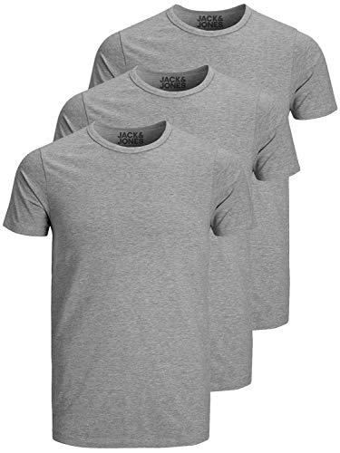 Jack and Jones Herren T-Shirt Basic Rundhals 3er Pack einfarbig Slim Fit in weiß schwarz blau grau (XL, 3er Pack O grau)