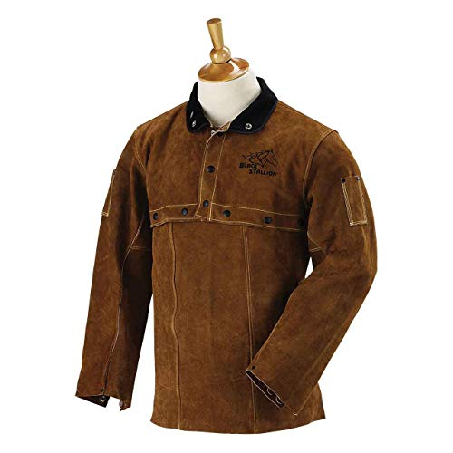 "Black Stallion 214CS Quality Side Split Cowhide Welding Cape Sleeve and 14"" Bib"
