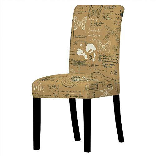 Jonist Fundas para sillas Fundas elásticas para sillas de Comedor - Libélula Amarilla Vintage e inglés, Estampado elástico, extraíble, Lavable, Corta, Funda Protectora para sillas de Comedor, Asien