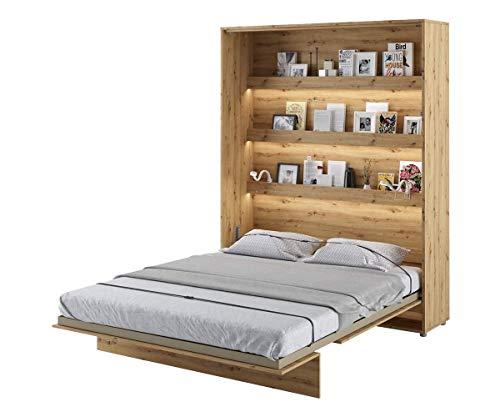 Schrankbett Bed Concept, Wandklappbett mit Lattenrost, V-Bett, Wandbett Bettschrank Schrank mit integriertem Klappbett Funktionsbett (BC-12, 160 x 200 cm, Artisan Eiche, Vertical)