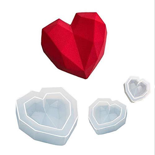 Cake siliconen mal, 3D Diamond Love Heart Dessert Cake siliconen mal, kan worden gebruikt in ovens, magnetrons, herbruikbaar.