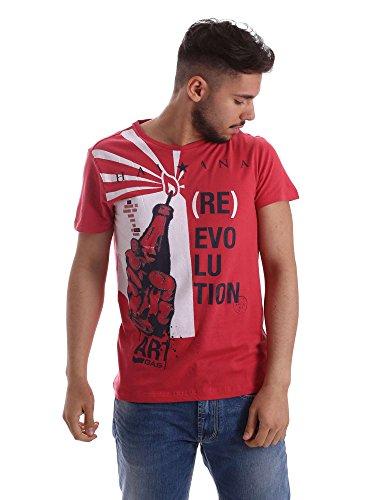 Gas Jeans Scuba Havana T-Shirt, Rosso (Coral Red), Medium (Taglia Produttore:M) Uomo